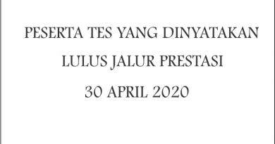 Peserta TES yang dinyatakan LULUS jalur Prestasi TA. 2020/2021